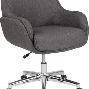 Rochelle Home and Office Upholstered Mid-Back Chair in Dark Gray Fabric [BT-1172-DGY-F-GG]