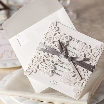 New Arrive!30pcs/Set Lace And Ribbon Invitations Luxurious Wedding Invitation Card With Wedding Invitation Envelope