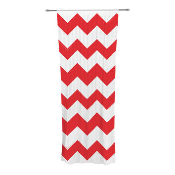"KESS Original ""Candy Cane Red"" Chevron Decorative Sheer Curtain"