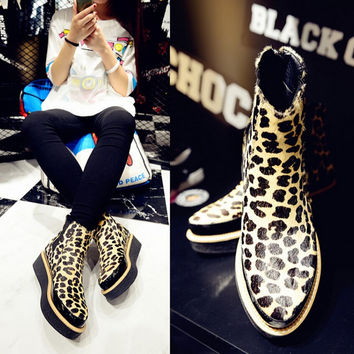 Leopard Print Platform Thick Soled Ankle Boots Shoes Women Tb092105