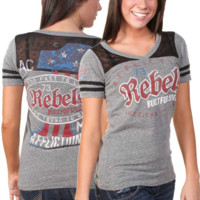 Affliction Juniors Rebels No.1 Contrast Lace V-Neck T-Shirt - Heather Gray