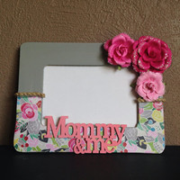 Mommy & Me Grey and Pink Floral Picture Frame