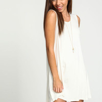 WHITE JERSEY SLEEVELESS SLIP DRESS