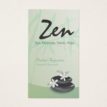 ZEN Stone Bamboo YOGA SPA Massage Beauty Salon Business Card