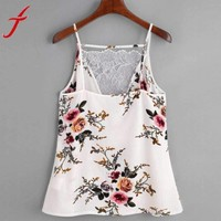 Womens Lace Top Sleeveless Casual
