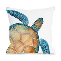 Oversized Sea Turtle Throw Pillow by OneBellaCasa.com