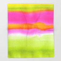 Pretty ombre coral pink and green pastel ikat watercolor hipster soft art print. Throw Blanket by igalaxy