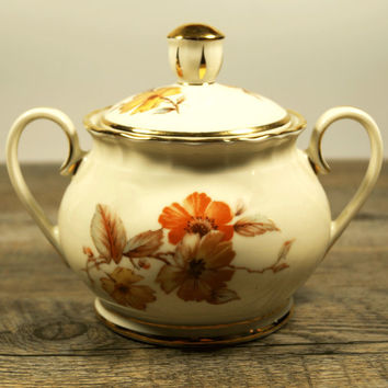 Sugar bowl with lid, Vintage Sugar Bowl, Vintage Porcelain, Gold porcelain, Candy bowl, Retro,China Bowls, Sugar Jar, Home Decor