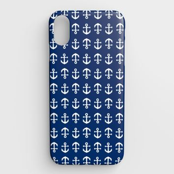 Anchor Toss Cell Phone Case iPhone XS Max - White on Navy