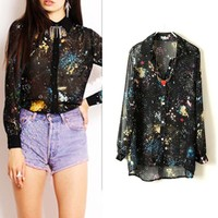 Galaxy Sheer Long Sleeves Top