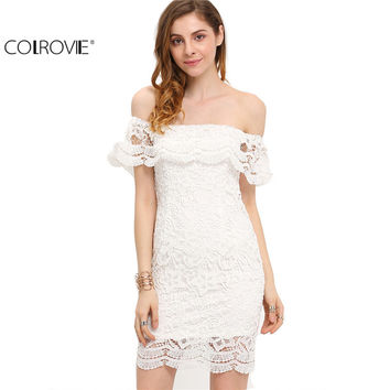 COLROVIE Summer Style Sexy Women Mini Dresses White Off the Shoulder Short Sleeve  Strapless Lace Ruffle Bodycon Dress C1202