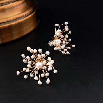 sweety orignal design Natural FreshWater Pearl flower exaggerated Earrings lady personality Earring Handmade jewelry
