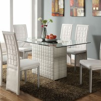 7 pc Abbie collection white leather like vinyl pedestal base and glass top dining table set with white vinyl chairs