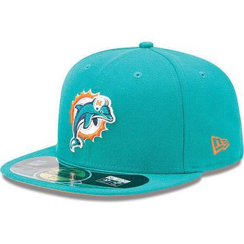 New Era Hat Cap NFL Football Miami Dolphins B 7 3/4 59fifty 2012 Sideline Fitted