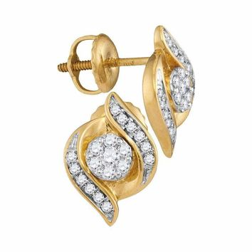 14kt Yellow Gold Women's Round Diamond Flower Cluster Screwback Stud Earrings 1-4 Cttw - FREE Shipping (USA/CAN)
