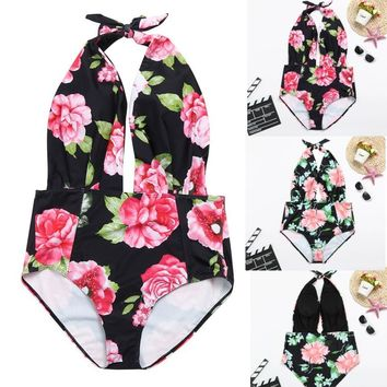 New Arrival Women Retro Backless Bather Sexy Swimsuit High Waisted Pin Up Swimwear Attractive Embroidery Women's Swimming Suit