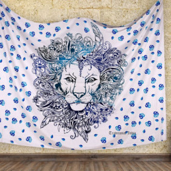 Ombere Rasta Lion Mandala Tapestry Wallhanging For Dorm Wall Decor