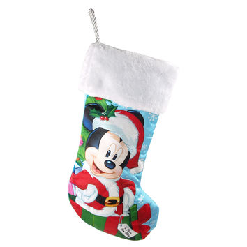 Disney Santa Mickey Mouse Christmas Stocking, Green/Red/Blue, 18-Inch