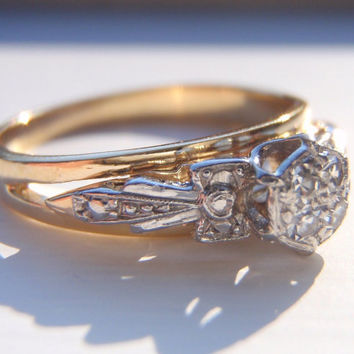 SALE Vintage Engagement Ring, Pave Diamonds, Quality 18K Gold. A Very Pretty Vintage Ring With Loads of Character.