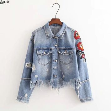 Light Blue Cropped Denim Jacket Embroidery Floral Fringe Raw Hem Buttons up Front Cuff Novelty Fashion Coat