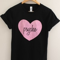 Pink Psycho Heart Black Graphic Top