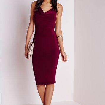 Missguided - Slinky Cowl Front Midi Dress Burgundy
