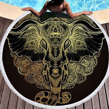 Bedding 3D printing Golden elephant Round Bohemian Beach towel home textile