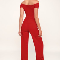 Alleyoop Red Off-the-Shoulder Jumpsuit