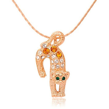 ITALINA Rolled Gold Plated Necklace with Crystal Decorated Leopard Pendant (Gold)