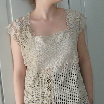 vintage cotton lace doily  top. recycled eco fashion shabby chic weddiing blouse,womens lace top