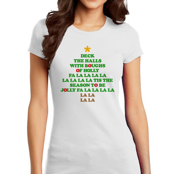 Deck the Halls Lyrics Christmas Tree Juniors T-Shirt