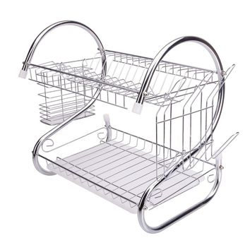 Multifunctional S-shaped Dual Layers Bowls & Dishes & Chopsticks & Spoons Collection Shelf Dish Drainer Silver
