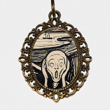 The Scream Necklace, Fine Art Jewelry, Screaming Man, Oddities, Edvard Munch, Bronze Oval Pendant, Gift For Artist