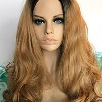 Dark Roots Ombre 24in Lace Front Synthetic Wig