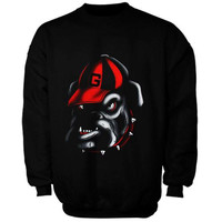 Georgia Bulldogs Blackout Pullover Crew Neck Sweatshirt - Black