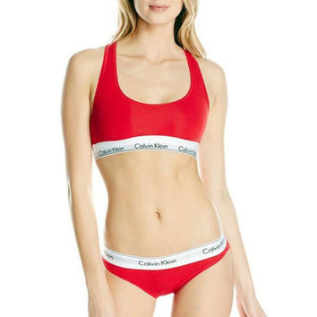 """Calvin Klein""Ms sports bra cotton thong suit non-trace bra Red"