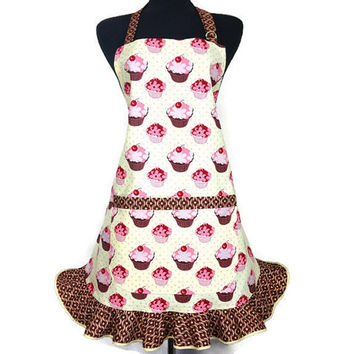 Cupcake Apron for Women , Butter Cream with Chocolate ruffle , Retro Kitchen Decor