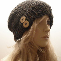 Black Multicolor Wheat Tweed Slouchy Hand Knit Oversized Ribbed Woodsy Beanie Hat With Wood Buttons