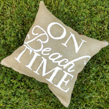 "Nautical Themed ""ON BEACH TIME"" Burlap 16x16 inches Custom Accent Pillow"