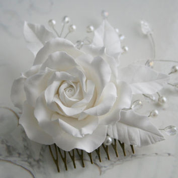 Bridal hair accessories, Rose comb, Bridal flower headpiece, Bridal flower comb, Bridal hair flower, Wedding decorative comb, flower comb
