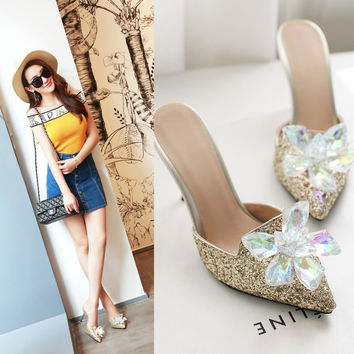 Summer Crystal Floral Rhinestone Sexy Plus Size Slippers [4920248260]