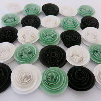 Mint Green, Black and White Paper Roses, 25 flower set, Bridal shower table decor, Baby nursery decorations, Wedding centerpiece ideas 1.5""