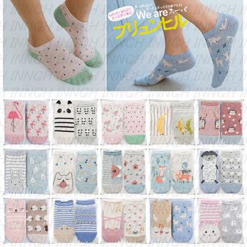 Foot 22-25cm AB Ankle Socks Animal Panda Flamingo Panda Koala Bear Cat Rabbit Bunny Sheep Hippo Ballet Fox Monkey Ear Fruit Deer