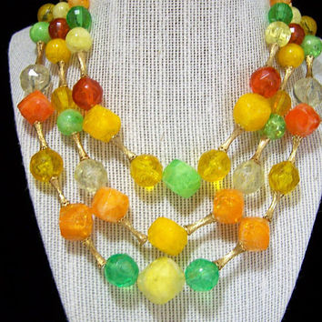 Faceted Lucite Yellow Orange Green Bead Necklace, Multi Color Multi Strand, Mid Century Vintage Beaded Jewelry, Costume Jewellery 917