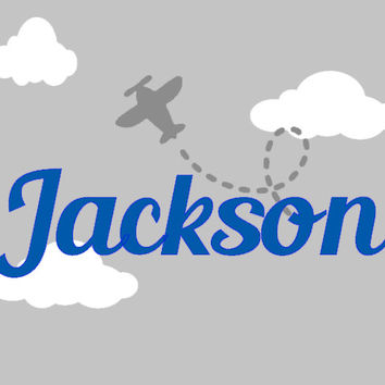 Boys Large Plane Personalized Flying Decal