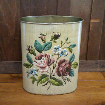 Vintage Faux Needlepoint Flower Trash Can Waste Basket JL Clark