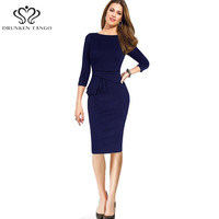 2016 Womens Elegant O-Neck Three Quarter Sleeve Wear to Work Business Office Sheath Pencil Dress plus size women clothing	08
