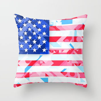 USA AMERICAN FLAG GEOMETRIC (MULTI COLOR, RED, WHITE, BLUE) Throw Pillow by AEJ Design