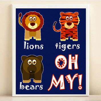 Lions Tigers & Bears, Oh My - Nursery Art Print: Baby Boy Nursery Wall Decor - Customize To Your Colors 8x10