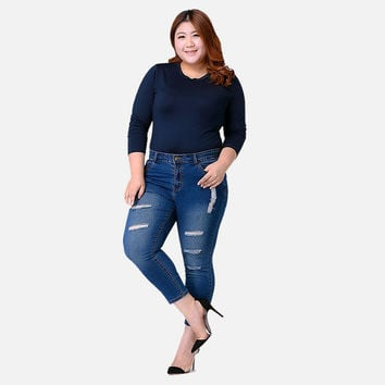 High Waisted Plus Size Denim Ripped Jeans